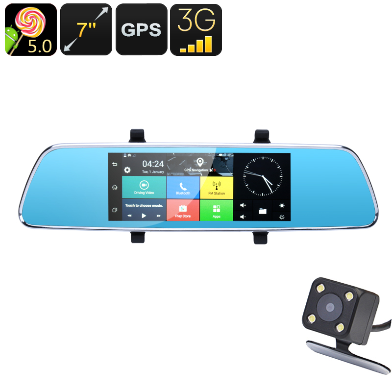 Wholesale Full-HD 1080p 7 Inch 3G Android Rearview Mirror Car DVR with GPS, Bluetooth, Front + Rear Parking Camera - 16GB