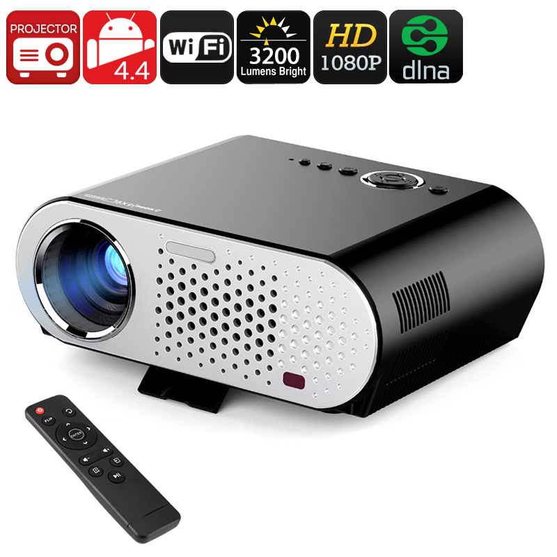 Wholesale GP90 GP 1080p HD Android LED Projector (Wi-Fi, DLNA, 3200 Lumen, 280 Inch Image, 3000: 1)