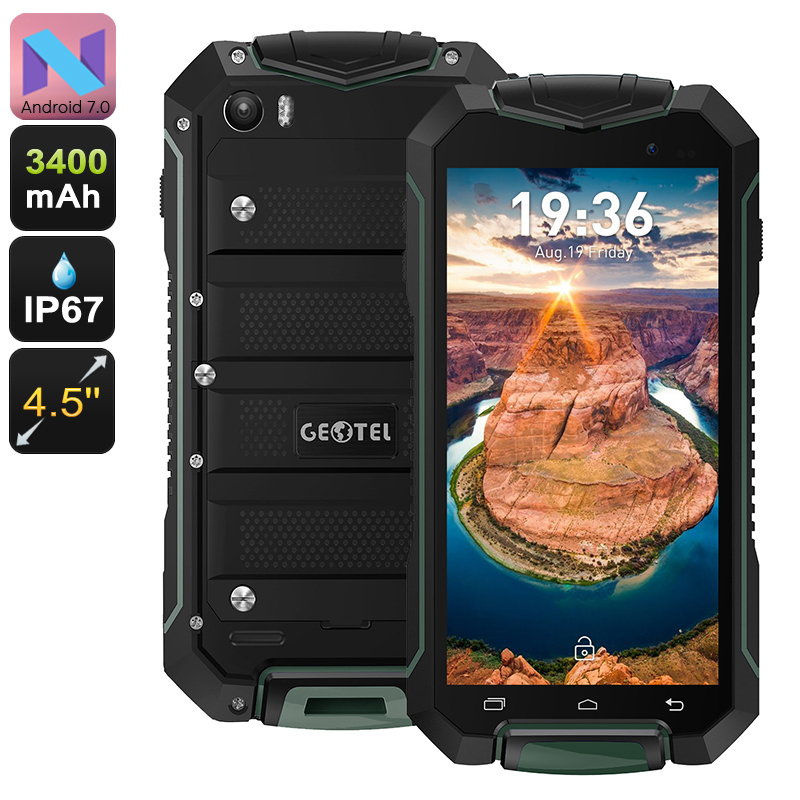 Wholesale Geotel A1 4.5 Inch IP67 Rugged Android Phone (Dual IMEI, Quad-Core CPU, 8MP Camera, Green)