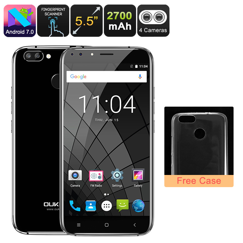 Wholesale Oukitel U22 5.5 Inch HD Phone with Dual Rear and Dual Front Camera (Quad-Core CPU, 2GB RAM, 16GB, Black)
