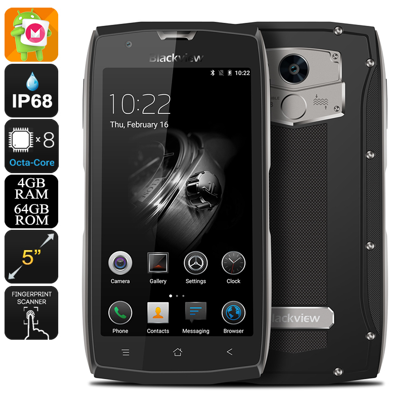 Wholesale Blackview BV7000 Pro 5 Inch IP68 Waterproof Android Phone (Octa-Core CPU, 4GB RAM, Two-IMEI, 4G, 64GB, Grey)