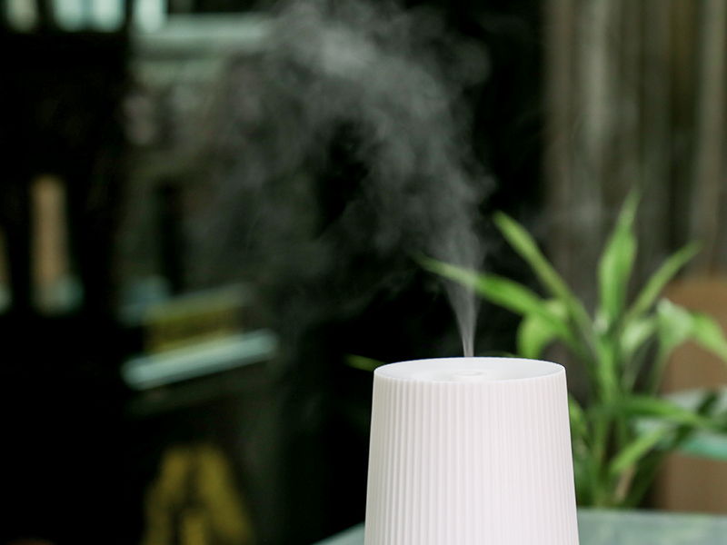 Humidifier + Aromatherapy (100ml Tank, Water + Essential Oils, Cooling Dry Mist, Automatic Cut-Off, Adjustable Moisture)