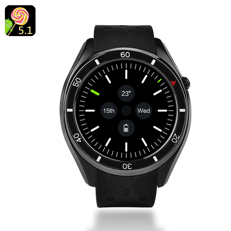 Wholesale IQI I3 1.39 Inch 3G Android Smart Watch Phone (Quad-Core CPU, Pedometer, Heart Rate Monitor, 4GB, Black)