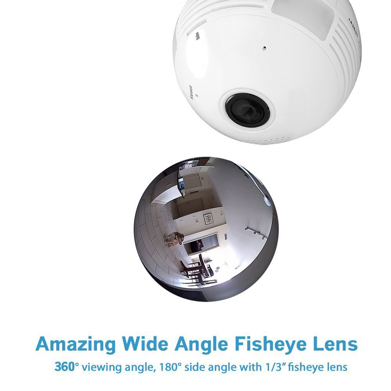 E27 LED Light Bulb with 360 Degree Fisheye Security IP Camera (FHD Video, WiFi, SD Card Recording, Phone View)