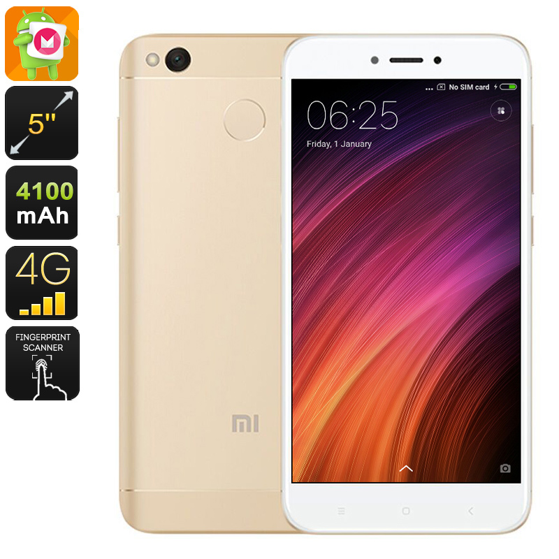Wholesale Xiaomi Redmi 4X 5 Inch HD 4G Android Mobile Phone (Octa Core CPU, Dual-IMEI, Fingerprint, 13MP Camera, 16GB, Gold)