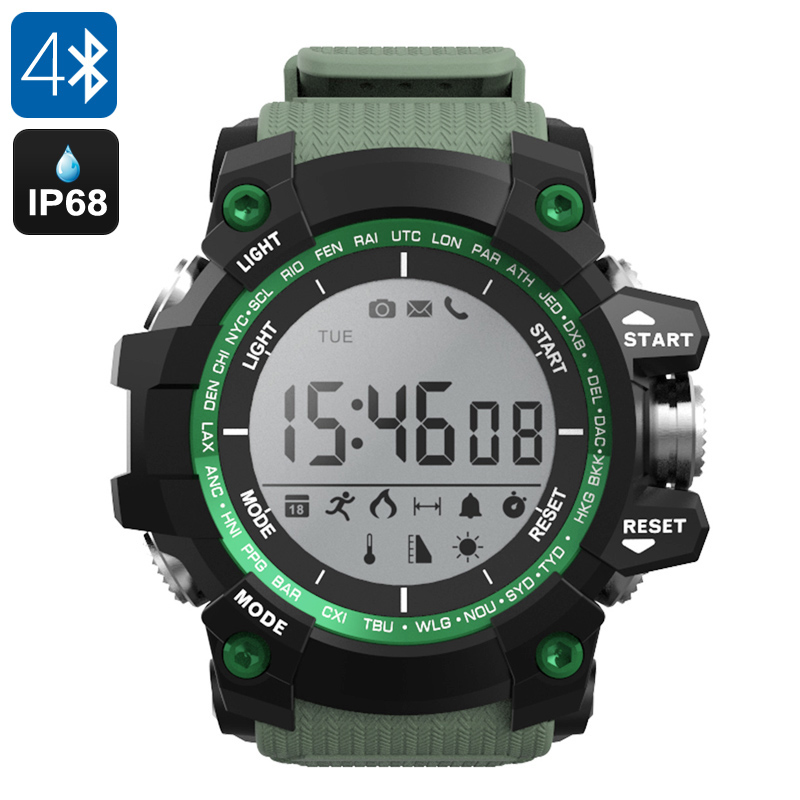 Wholesale NO.1 F2 Outdoor Rugged Bluetooth Watch for iPhone/Android Phone (IP68 Waterproof, Call Reminder, Green)