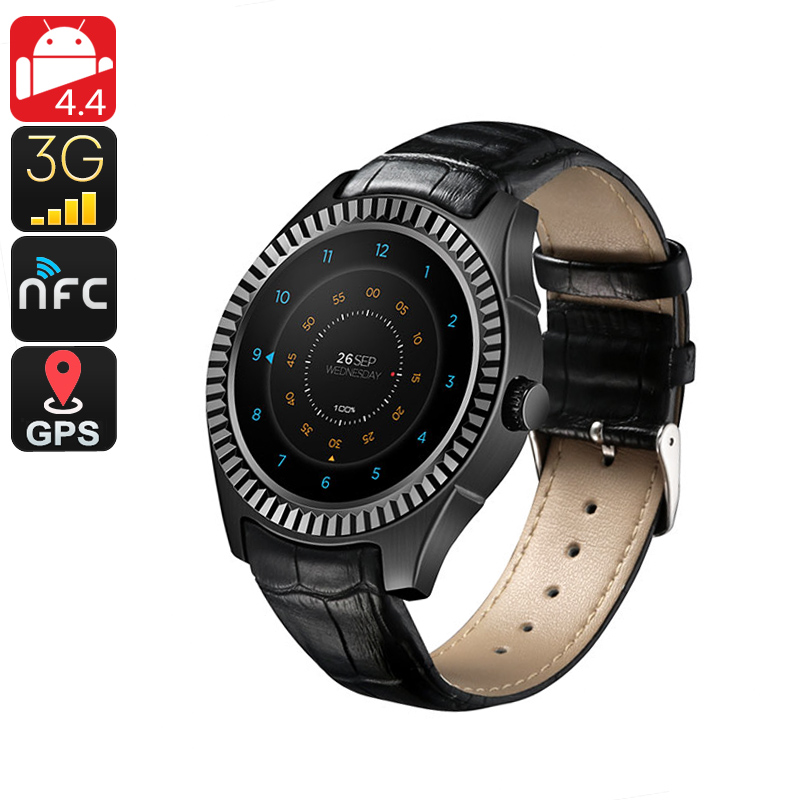 Wholesale No.1 D7 Bluetooth 3G Watch Phone (NFC, Pedometer, Heart Rate Monitor, Black)