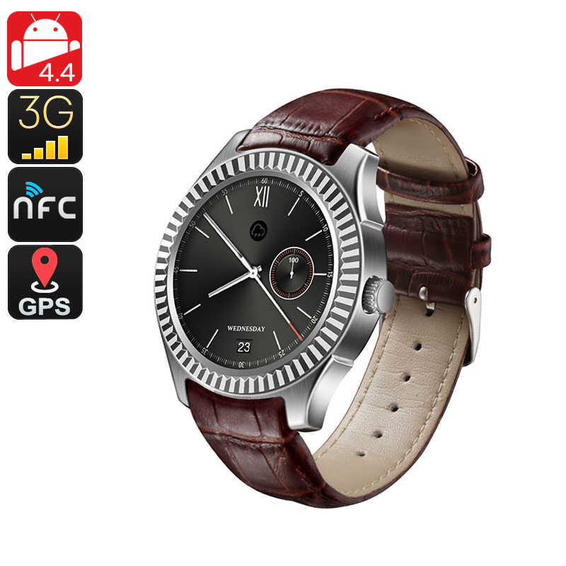 Wholesale No.1 D7 Bluetooth 3G Watch Phone (NFC, Pedometer, Heart Rate Monitor, Silver)