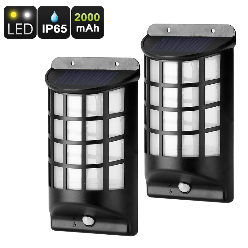 Wholesale 2 Outdoor Solar LED Lights (PIR Motion Detection, IP65 Waterproof, 2000mAh)