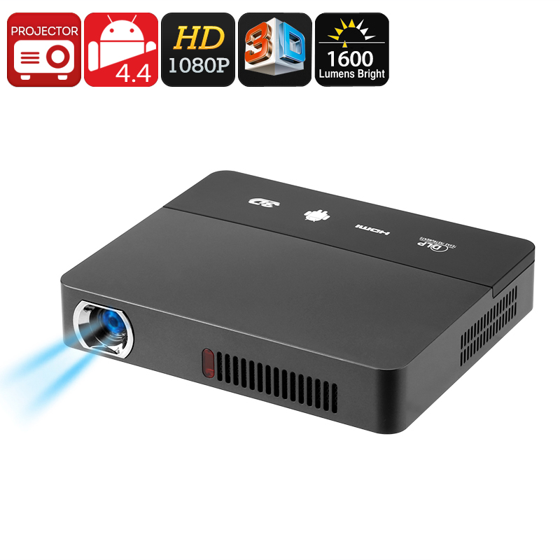 Wholesale RD - 601 Smart 3D DLP Mini Android Projector (Full HD 1080p, 1600 LM, Quad-Core CPU, WiFi)