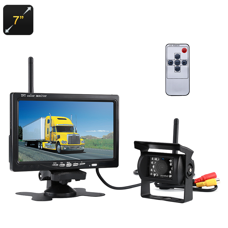 Wholesale 7 Inch Waterproof Wireless Rearview Parking Camera (Nightvision, 1/3 Inch Color CMOS, 120 Degree Lens, 800x480)