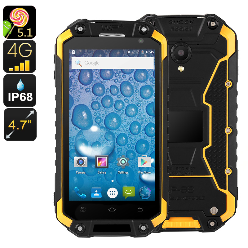 Wholesale Jeasung X8G 4.7 Inch HD Waterproof Android Phone (IP68 Rugged, Quad-Core CPU, 2GB RAM, Dual-IMEI 4G, NFC, 16GB, Yellow)