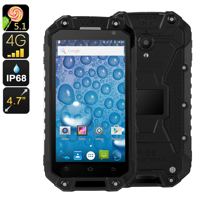 Wholesale Jeasung X8G 4.7 Inch HD Waterproof Android Phone (IP68 Rugged, Quad-Core CPU, 2GB RAM, Dual-IMEI 4G, NFC, 16GB, Black)