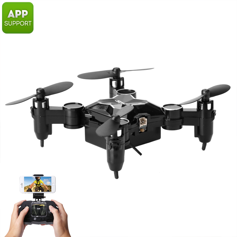 Wholesale SMAO M1HS Foldable Mini RC Drone w/ FPV Camera (WiFi, LED Lights, One Key Landing and Take Off, Black)