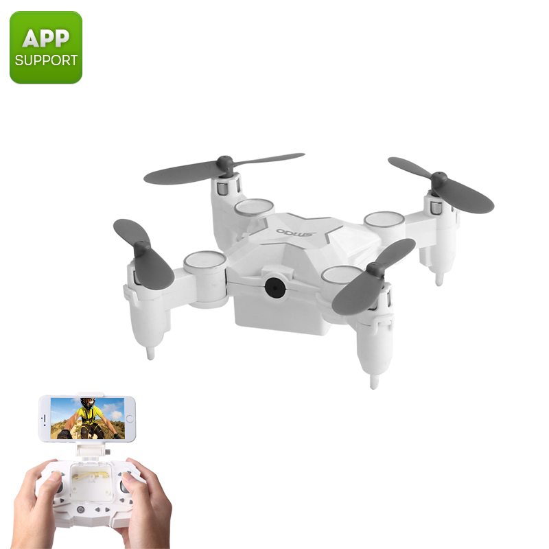 Wholesale SMAO M1HS Foldable Mini RC Drone w/ FPV Camera (WiFi, LED Lights, One Key Landing and Take Off, White)