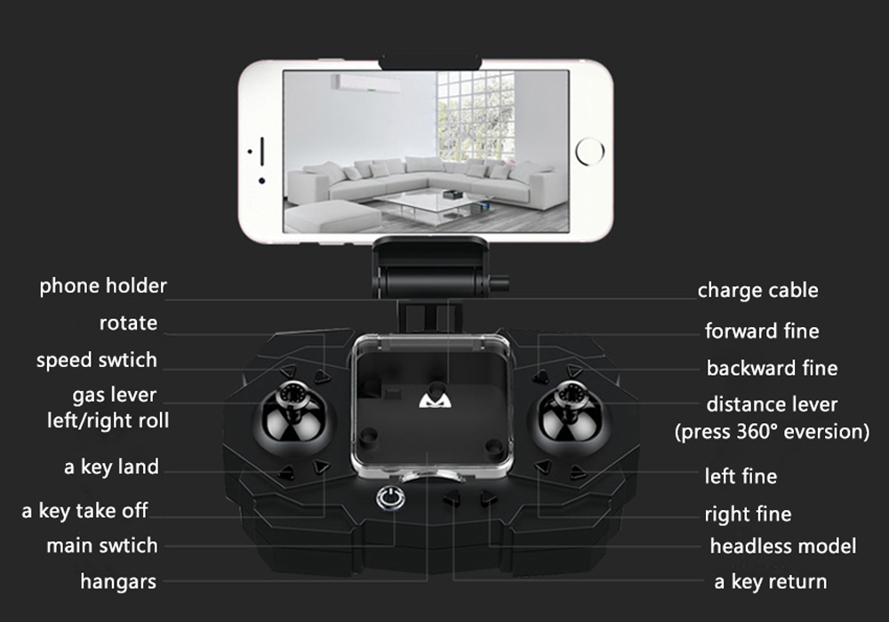 SMAO M1HS Foldable Mini RC Drone w/ FPV Camera (WiFi, LED Lights, One Key Landing and Take Off, White)