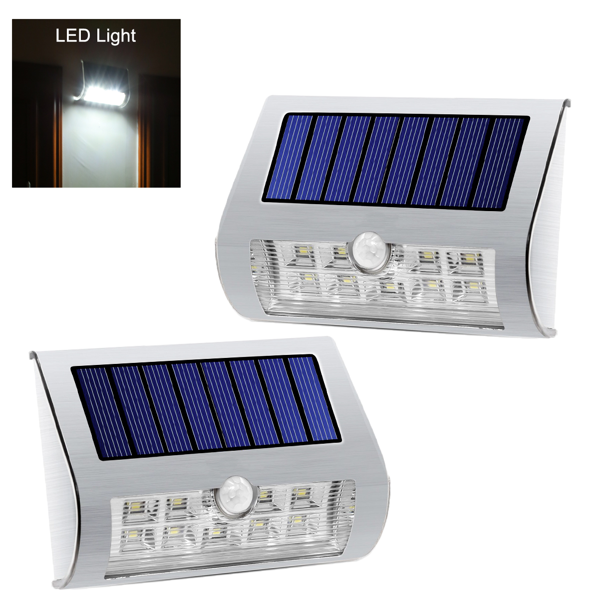 Wholesale PIR Outdoor Solar LED Lights Pair (Stainless Steel, IP44 Weatherproof)