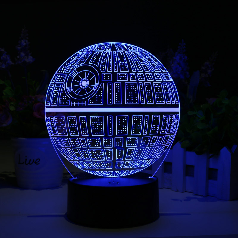 Star Wars Death Star Touch Multicolor Holographic 3d Led