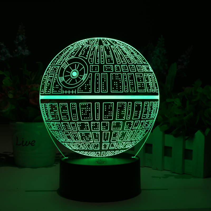 star wars death star touch multicolor holographic 3d led lamp cvacc lt372 us. Black Bedroom Furniture Sets. Home Design Ideas
