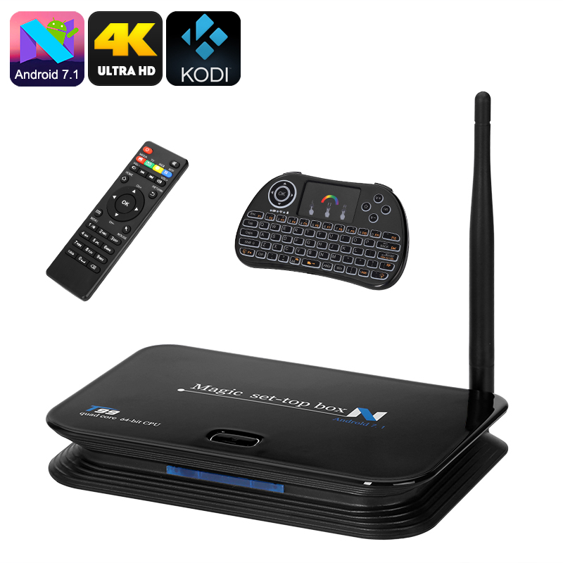 Wholesale T99 4K Android TV Box with Wireless Qwerty Keyboard (Quad Core CPU, Kodi 16.1, HDMI 2.0)