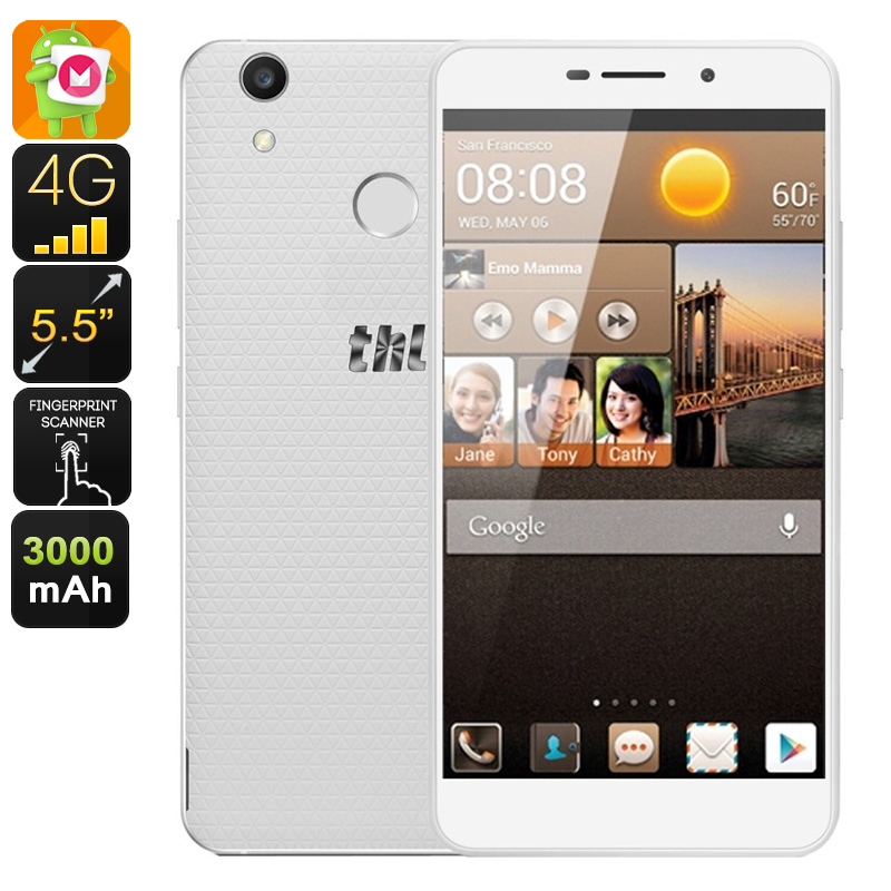 Wholesale THL T9 Plus 5.5 Inch HD Android Smartphone (Dual IMEI, 4G, Quad-Core CPU, 16GB, White)