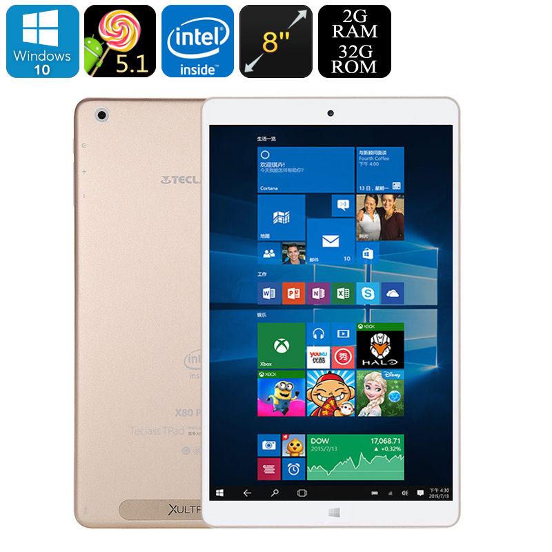 Wholesale Teclast X80 Power 8 Inch Full HD Dual-OS Tablet PC (Windows 10 +