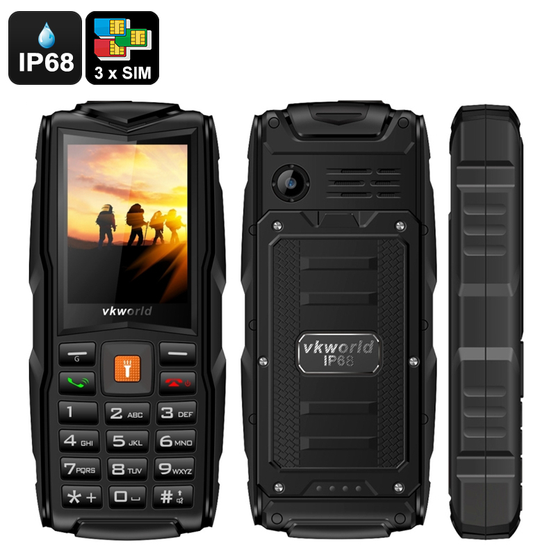 Wholesale VKWorld New Stone V3 Rugged Mobile Phone (3 GSM SIM, IP68 Waterproof, 3000mAh Powerbank, Orange)