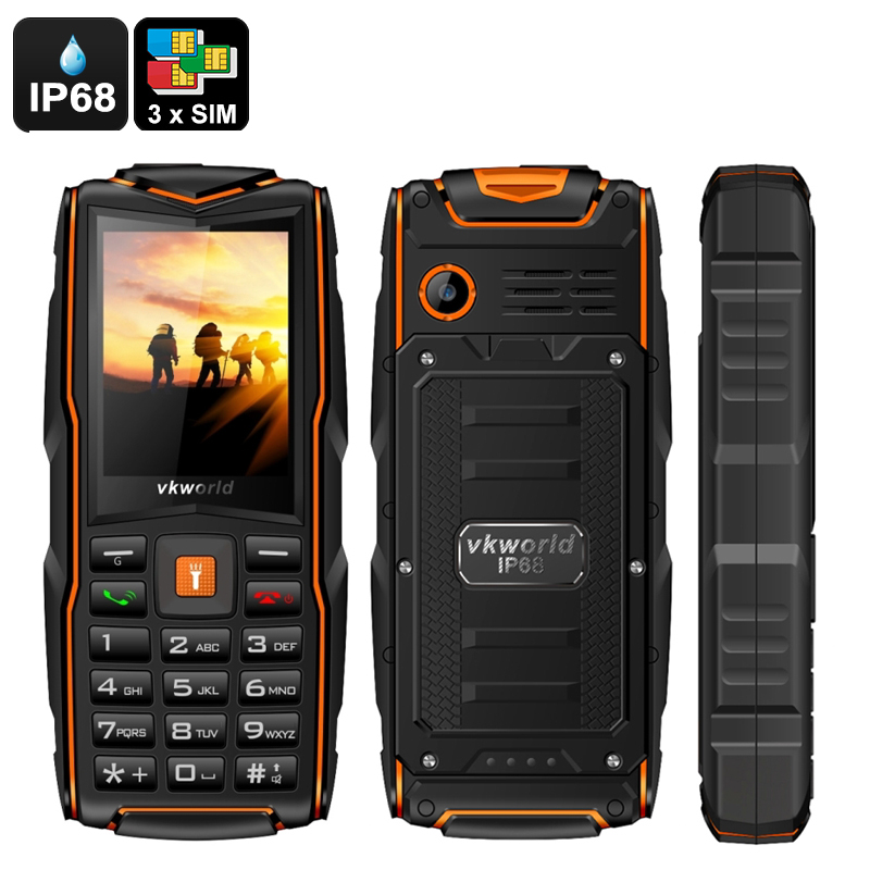 Wholesale VKWorld New Stone V3 Rugged Cell Phone with 3 GSM SIM Card Slot (IP68 Waterproof, 3000mAh Power Bank, Orange)
