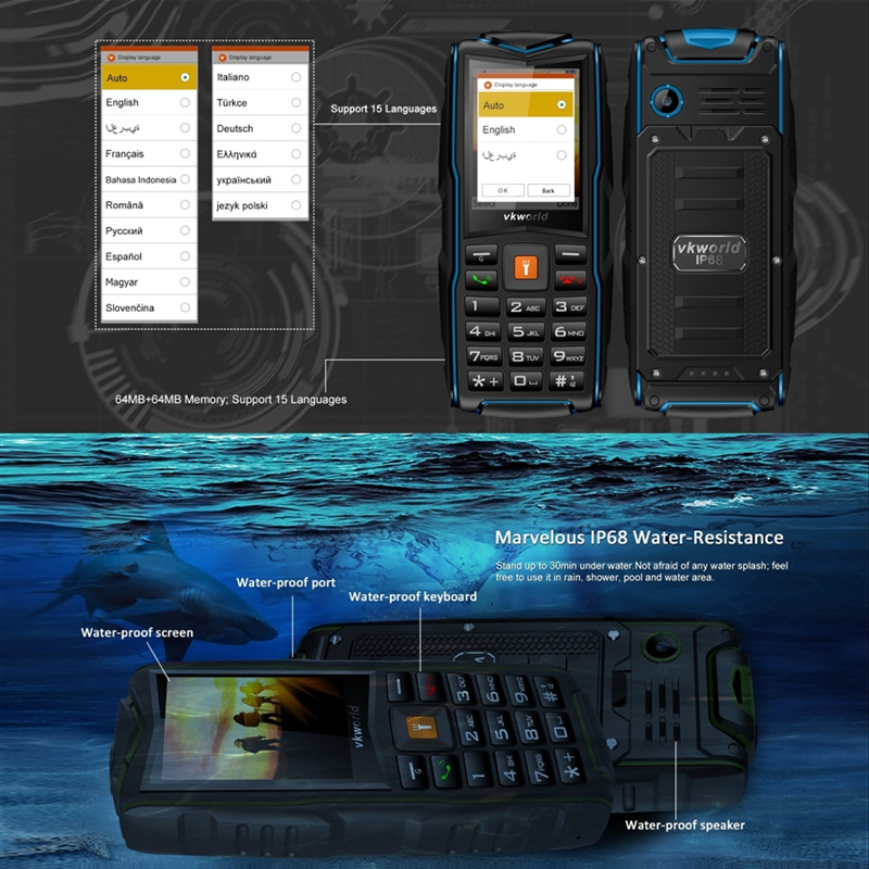 Vkworld New Stone V3 Rugged Cell Phone With 3 Gsm Sim Card
