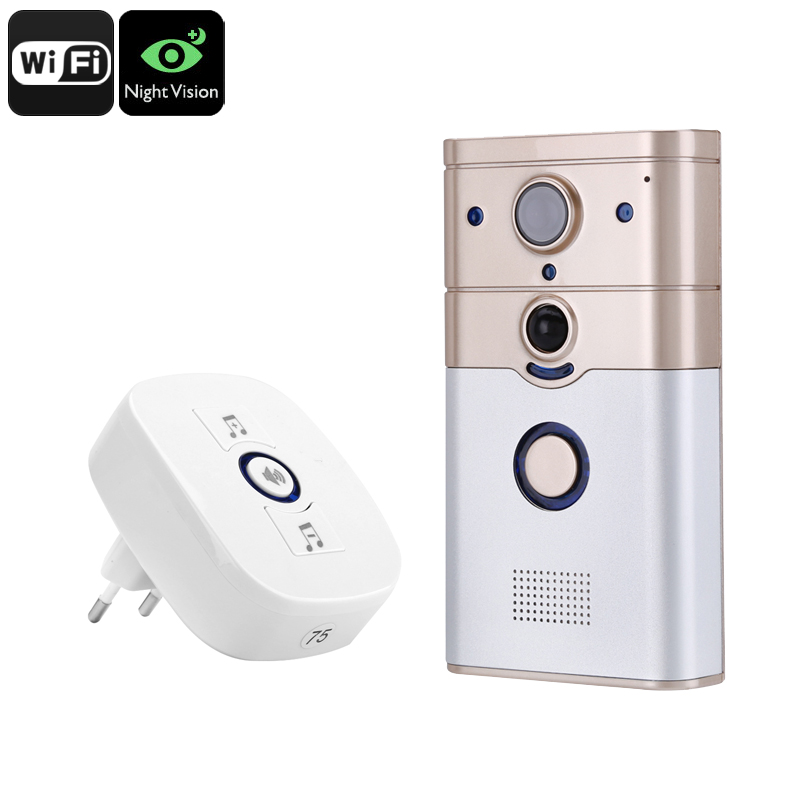 Wholesale PIR Video Doorbell Intercom with 1/4 Inch CMOS 720p Camera (Night Vision, WiFi, Two-way Audio)