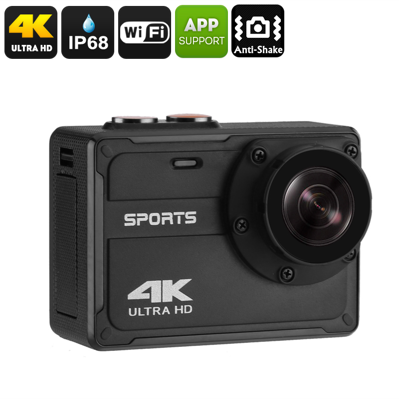 Wholesale IP68 Waterproof Ultra-HD 4K Sports Camera (150-Degree View, WiFi, 30FPS, Anti Shake, iOS/Android Control, 800mAh)
