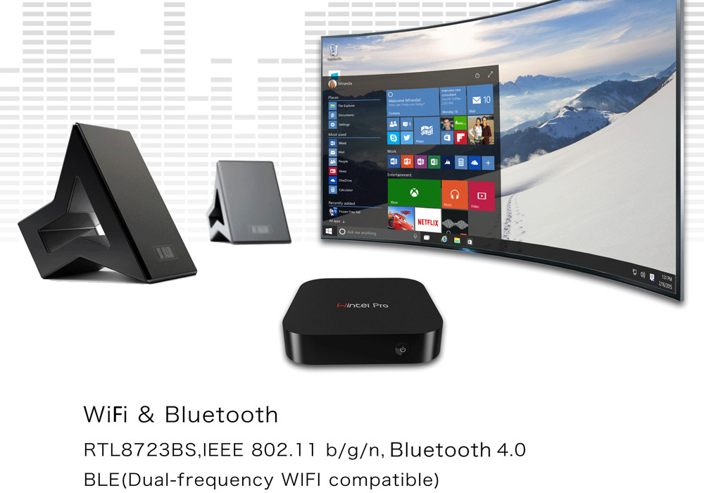 HD Windows 10 Mini PC (Z8300 Quad-Core CPU, 2GB DDR3 RAM, Bluetooth, 32GB)