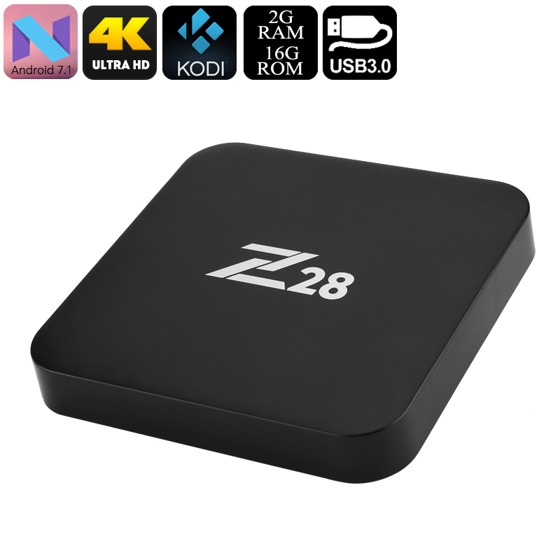 Wholesale Z28 4K Android 7 TV Box (Quadcore CPU, 2GB RAM, RKMC, Miracast, Wi-Fi)