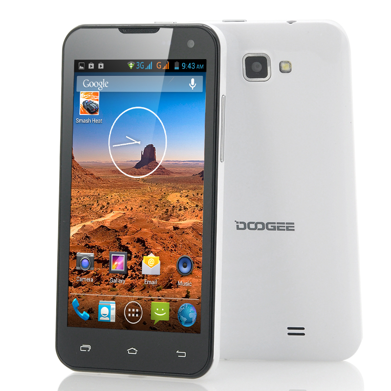 Wholesale DOOGEE Hotwind DG200 - 4.7 Inch Dual Core Android 4.2 Phone (IPS Screen, 854x480, MT6577 1GHz CPU, White)