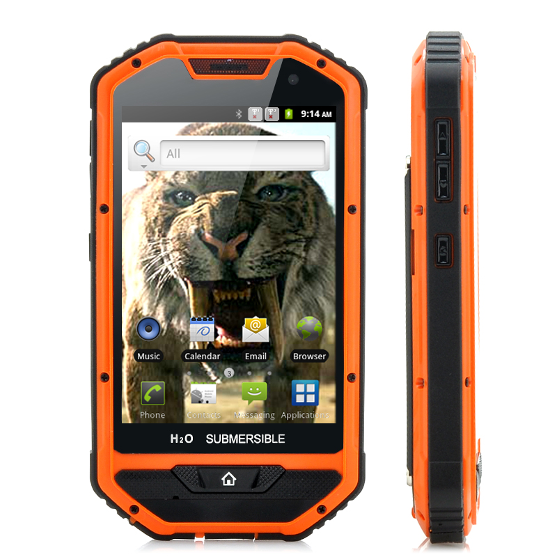 Sabre Tooth Ii 4 Inch Rugged Android Phone 1ghz Cpu Dual Camera Dustproof Ip 53 Water Resistant Shockproof Orange