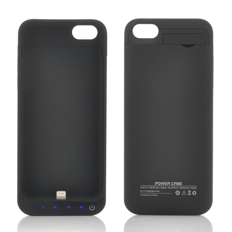 Wholesale 2200mAh External Battery Case with Kick Stand for iPhone 5/5C/5S - Black