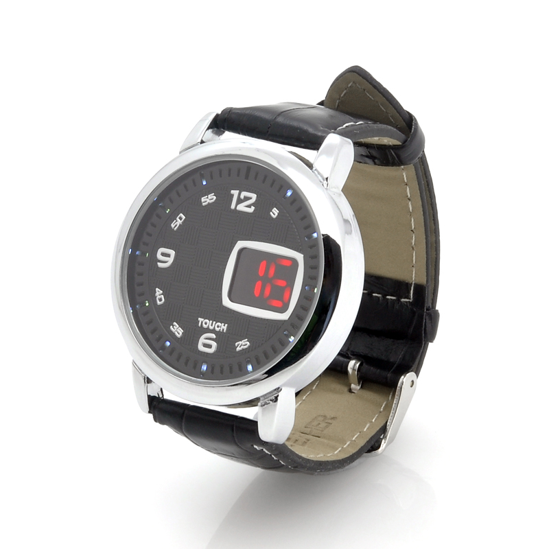 Wholesale Checkers - LED Touch Watch with Leather Strap - Black