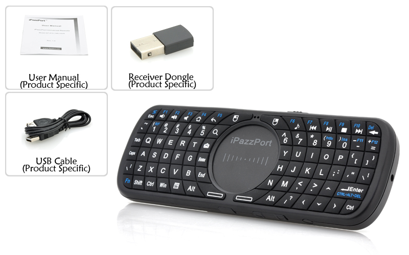 Wholesale iPazzPort - Wireless Mini QWERTY Keyboard with Touchpad (2.4GHz, 10m Range, Ergonomic Design)
