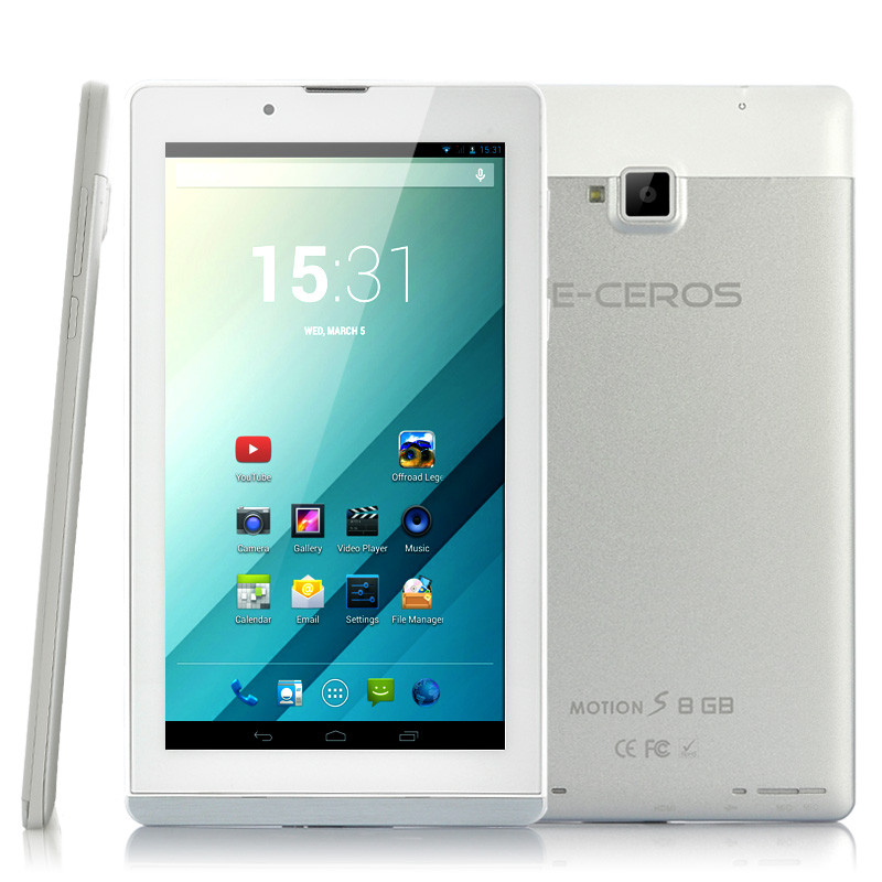 Wholesale E-Ceros Motion S - 7 Inch Quad Core Android Phablet (3G, 1.3GHz CPU, 1024x600, 8GB, White)