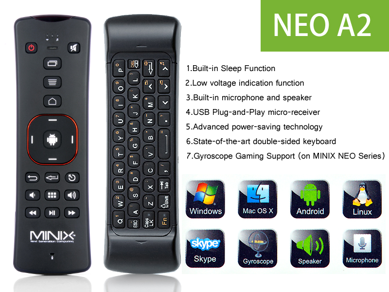 Minix Neo A2 2 4ghz Wireless Air Mouse With Microphone And
