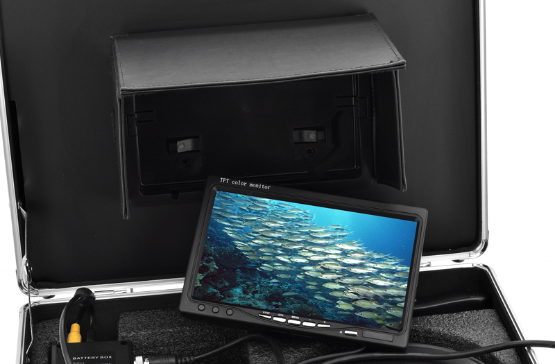 Underwater Fishing Camera with 1/3 Inch SONY CCD and 7 Inch Screen (480TVL, Remote Control, 14 White Lights, 360 Degree View)