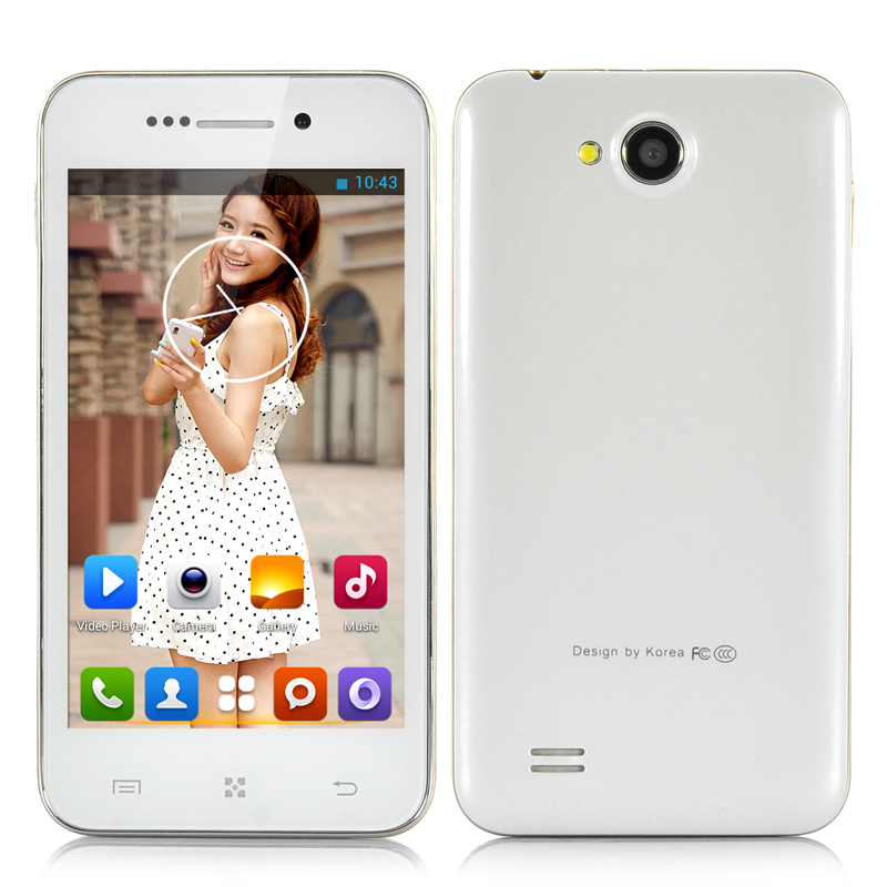 Wholesale 4 Inch Dual Core Android 4.2 Phone (MTK6572 1GHz CPU, Dual Camera, White)