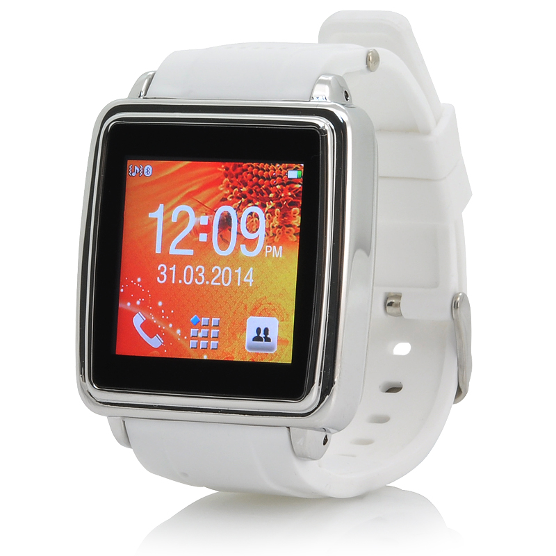 Wholesale Touch Screen Bluetooth Smart Watch (Make + Answer Calls, SMS + Phonebook Sync, White)