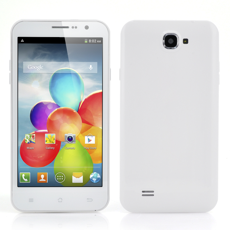 Wholesale 5.3 Inch Quad Core Android Phone (3G, 1.2GHz CPU, 8MP Camera, 960x540, White)