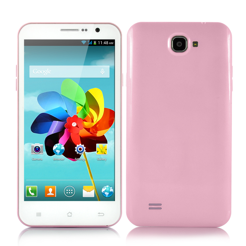 Wholesale 5.3 Inch Quad Core Android Phone (3G, 1.2GHz CPU, 8MP Camera, 960x540, Pink)
