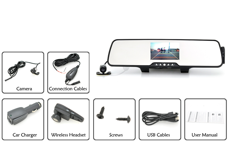 Bluetooth Car Rear View Mirror With Wireless Parking