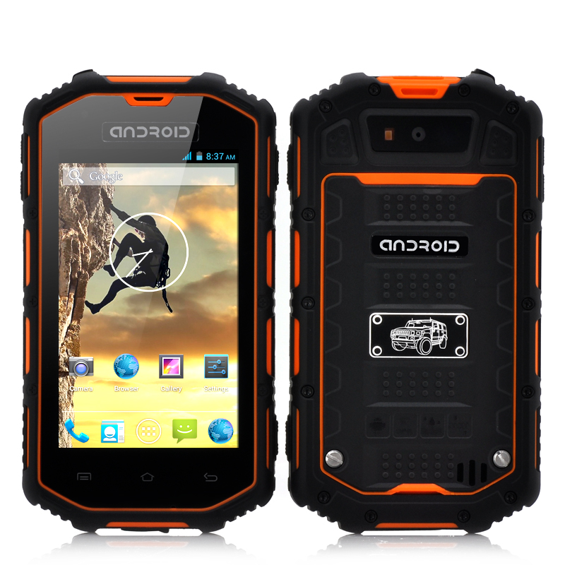 Wholesale 4 Inch Rugged Android Phone (Dual Core 1.3GHz CPU, Waterproof, Shockproof, Dust Proof, Orange)