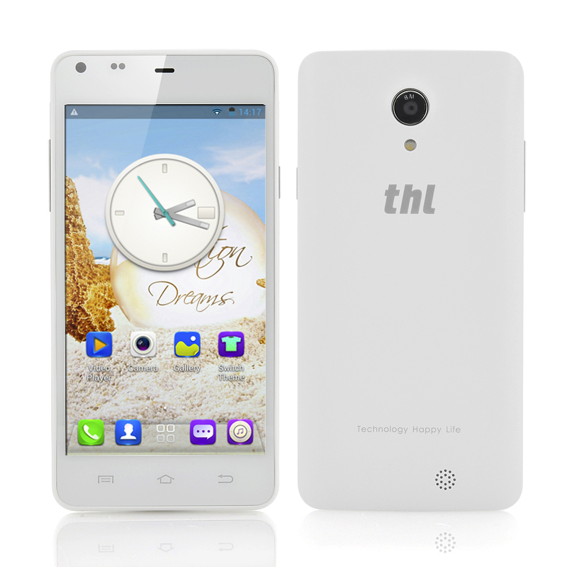 Wholesale thl T5S 4.7 Inch Quad Core 3G Android Phone (960x540, 1.3GHz CPU, Dual Camera, 1GB RAM, White)