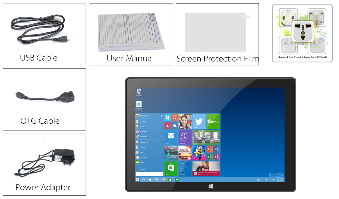 10 1 Inch HD Tablet PC with Windows 10 and Android 5 1 System (Quad