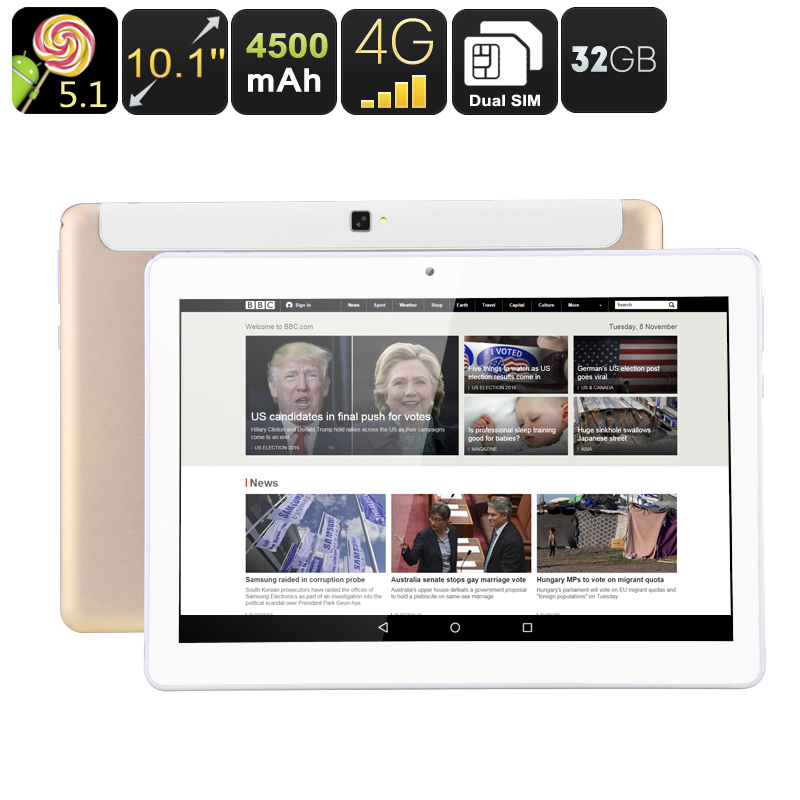 Wholesale 10.1 Inch Android 5.1 Tablet PC + Dual SIM 4G Phone (Quad-Core CPU, OTG, 4500mAh, 32GB)